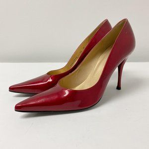 Stuart Weizman patent leather Red Pointy toe pump